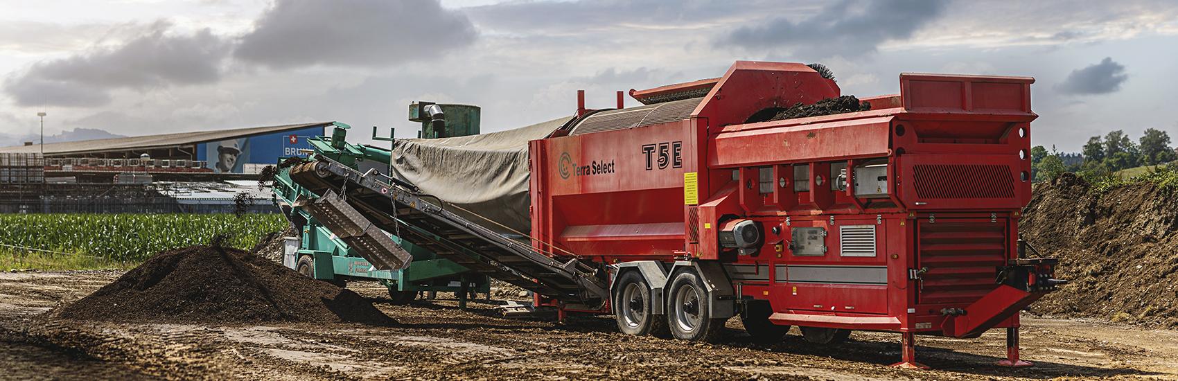 Siebanlage für die Herstellung von Kompost bei der Firma Qualikomp AG in Emmen