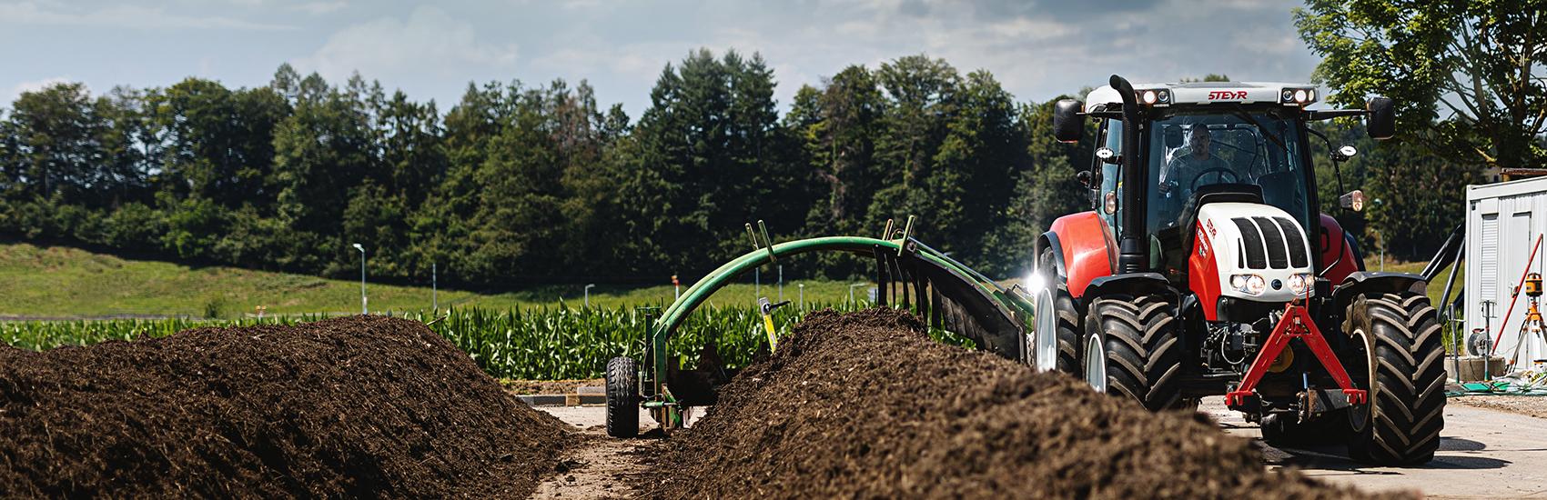Wender der Kompostmiten bei der Firma Qualikomp AG, dient der Herstellung von Qualitätskompost