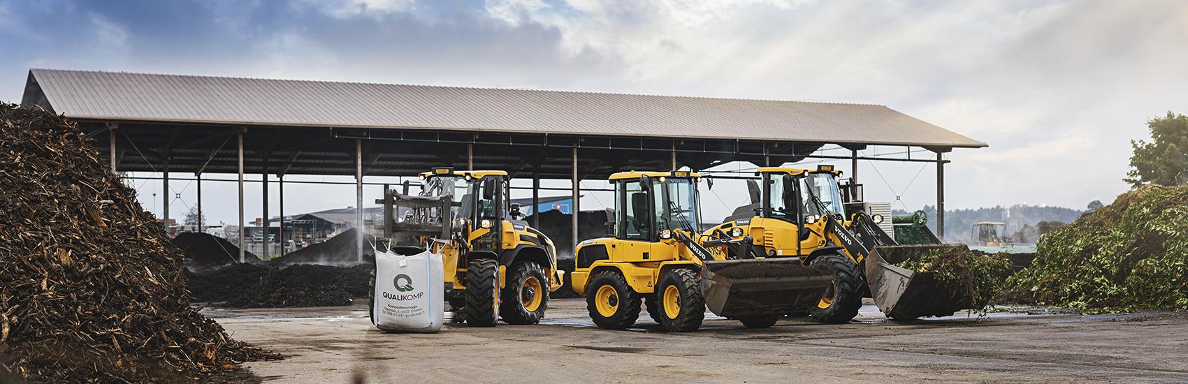 Maschinenpark der Qualikomp AG in Emmen, Kompostieranlage für Qualitätskompost